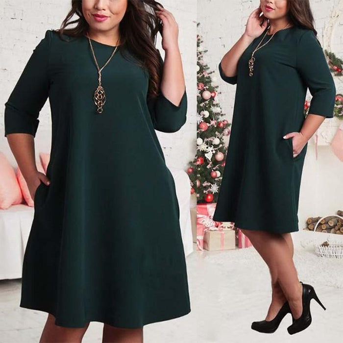L-6Xl Big Size Dresses Office Ladies Plus Size Casual Loose Autumn Dress Pockets Green Red-Dresses-Classic Bonito Store-Green-L-EpicWorldStore.com