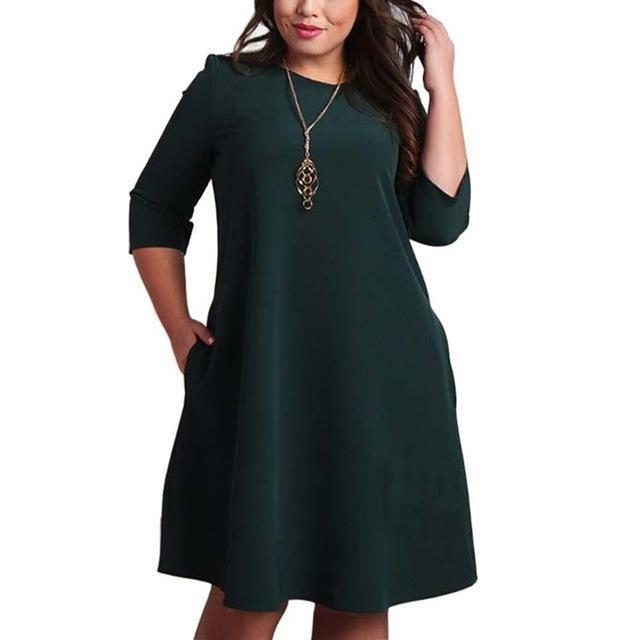 L-6Xl Big Size Dresses Office Ladies Plus Size Casual Loose Autumn Dress  Pockets Green Red