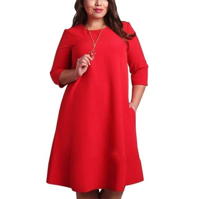 L-6Xl Big Size Dresses Office Ladies Plus Size Casual Loose Autumn Dress Pockets Green Red-Dresses-Classic Bonito Store-Red-L-EpicWorldStore.com