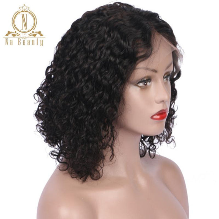 Lace Front Human Hair Wigs Remy Hair Short Bob Deep Curly Wigs For