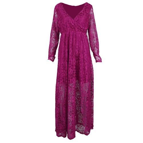 Lace Maternity Dress Photography Long Sleeve Wedding Party Gown