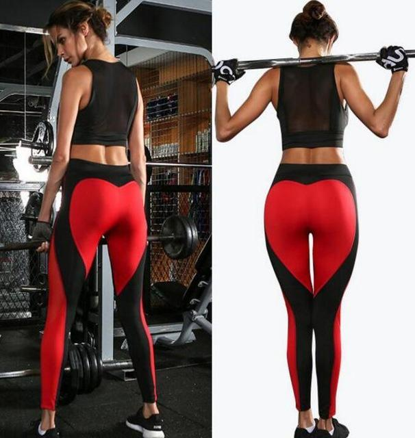 9d9455f98138 Ladies Stylish Gym Wear Yoga Pants Love Design Leggings Workout Tights For  Women Heart Booty Pants