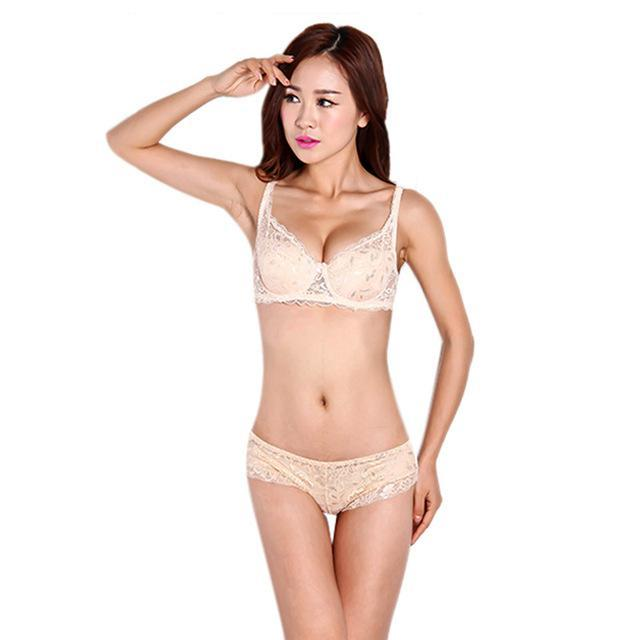 Ladies Women Stylish Underwear 3/4 Cup Padded Lace Sheer Bra Cup B Only-Bras-EFINNY Online Store-Flesh-32-EpicWorldStore.com