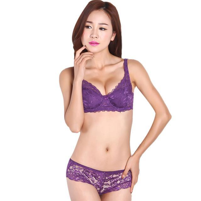 Ladies Women Stylish Underwear 3/4 Cup Padded Lace Sheer Bra Cup B Only-Bras-EFINNY Online Store-Purple-32-EpicWorldStore.com
