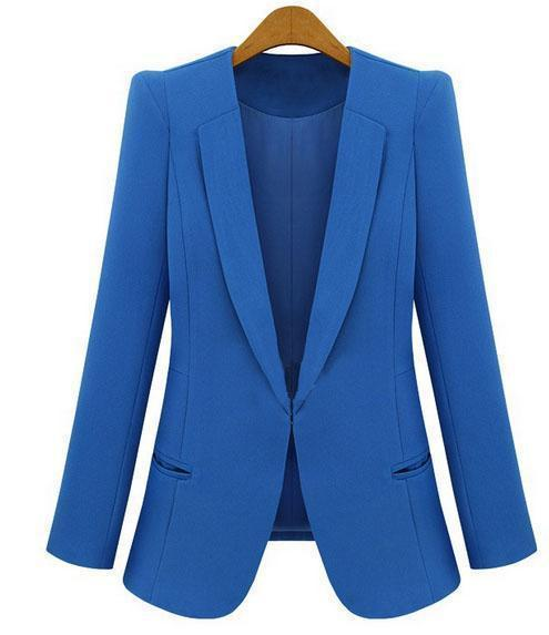 Ladies Yellow Blazer Feminino Plus Size 4Xl Formal Jacket Womens White Blaser Rosa Female Blue-Suits & Sets-OAIRED Official Store-Blue-S-EpicWorldStore.com