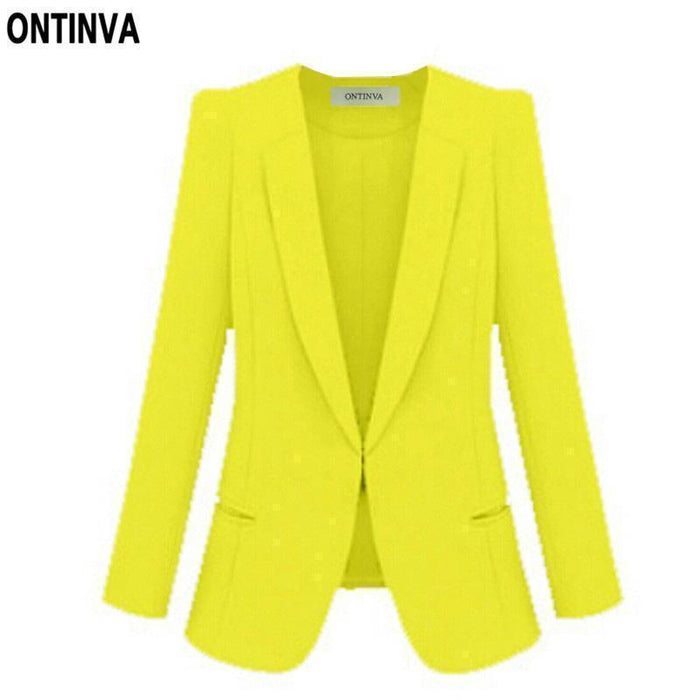 Ladies Yellow Blazer Feminino Plus Size 4Xl Formal Jacket Womens White Blaser Rosa Female Blue-Suits & Sets-OAIRED Official Store-Ivory-S-EpicWorldStore.com