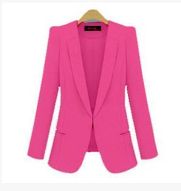 Ladies Yellow Blazer Feminino Plus Size 4Xl Formal Jacket Womens White Blaser Rosa Female Blue-Suits & Sets-OAIRED Official Store-Rose-S-EpicWorldStore.com