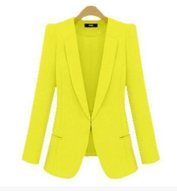 Ladies Yellow Blazer Feminino Plus Size 4Xl Formal Jacket Womens White Blaser Rosa Female Blue-Suits & Sets-OAIRED Official Store-Yellow-S-EpicWorldStore.com