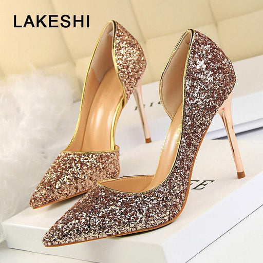 Lakeshi Women Pumps Bling High Heels Women Pumps Glitter High Heel Shoes Woman Stylish Wedding Shoes-Women's Pumps-M I K Store-Black-3.5-EpicWorldStore.com