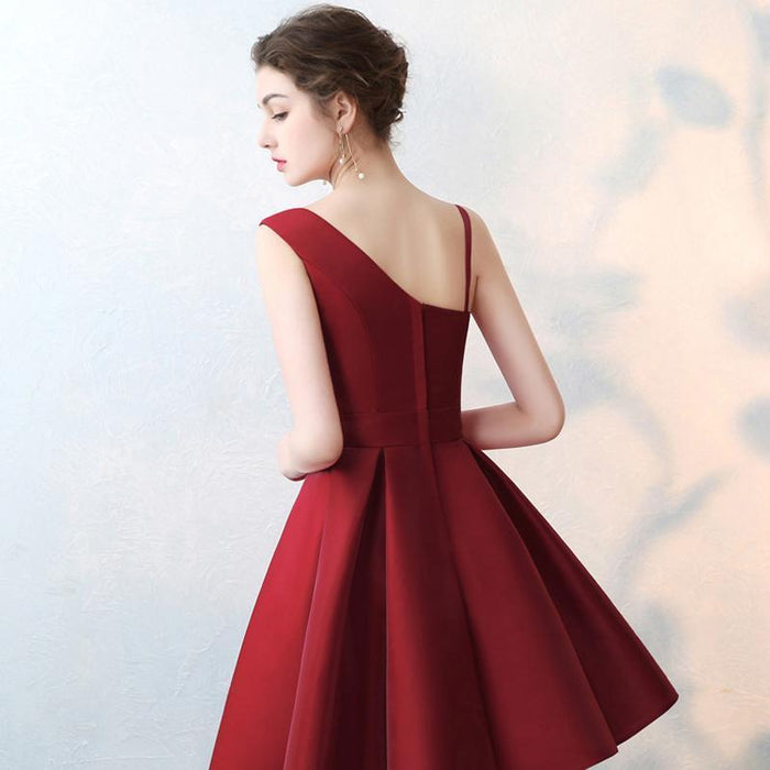 Lamya Scalloped Cheap Red Stain A Line Prom Dresses Elegant Evening Party  Dress Plus Size