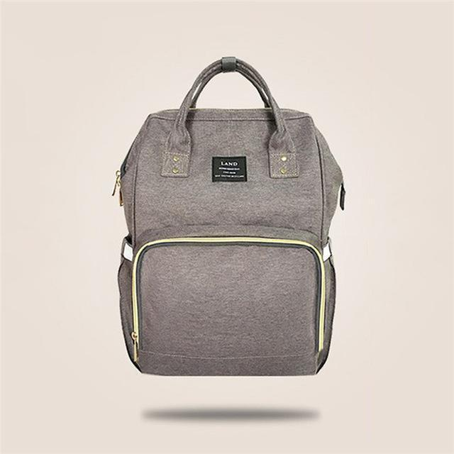 Land Mommy Diaper Bag Large Capacity Baby Nappy Bags Desiger Nursing Bag Travel Backpack-Baby Care-Yiwu Ousu Maternal Store-Grey-EpicWorldStore.com