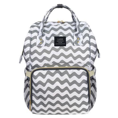 Land Mommy Diaper Bag Large Capacity Baby Nappy Bags Desiger Nursing Bag Travel Backpack-Baby Care-Yiwu Ousu Maternal Store-Grey White Stripe-EpicWorldStore.com