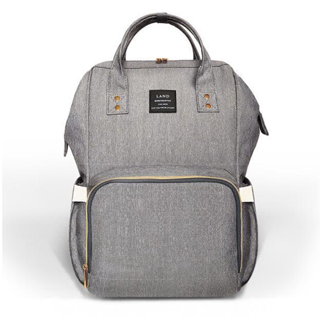 Land Mommy Diaper Bag Large Capacity Baby Nappy Bags Desiger Nursing Bag Travel Backpack-Baby Care-Yiwu Ousu Maternal Store-khaki Grey-EpicWorldStore.com