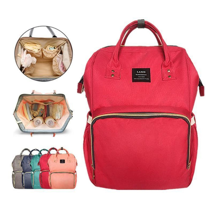 Land Mommy Diaper Bag Large Capacity Baby Nappy Bags Desiger Nursing Bag Travel Backpack-Baby Care-Yiwu Ousu Maternal Store-Red-EpicWorldStore.com