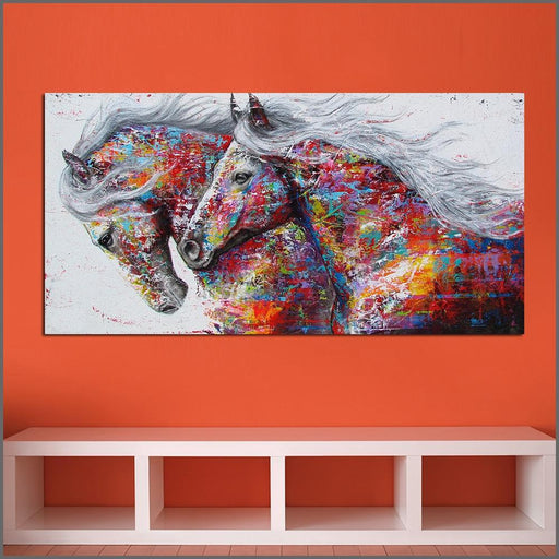 Large Printing Abstract Wonderful Two Horses Wall Art Picture Home Decor Living Room Modern Canvas-Painting & Calligraphy-XKART Store-8X16-EpicWorldStore.com