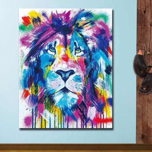 Large Size Wall Art Colors Festival Lion Canvas Painting For Living Room Home Decoration Oil-Painting & Calligraphy-Xian An Art Store-12X16-EpicWorldStore.com