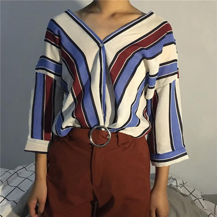Ldzhps New Women Blouses Work Shirt Striped Loose V-Neck Tops Shirt Womens Long-Blouses & Shirts-Red day Store-Blue-S-EpicWorldStore.com