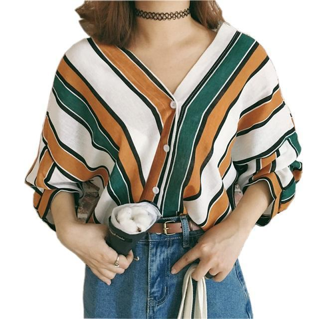 Ldzhps New Women Blouses Work Shirt Striped Loose V-Neck Tops Shirt Womens Long-Blouses & Shirts-Red day Store-Green-S-EpicWorldStore.com