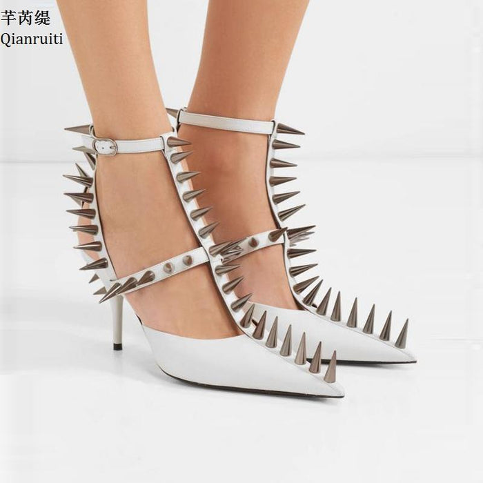 1718523bcde Leather T-Strap Women Heels Spikes Studded Rivets Buckle Strap High ...