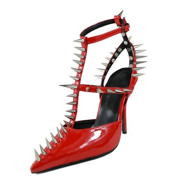 a52ec497202 Leather T-Strap Women Heels Spikes Studded Rivets Buckle Strap High Heels  Shoes Sexy Pointed Toe