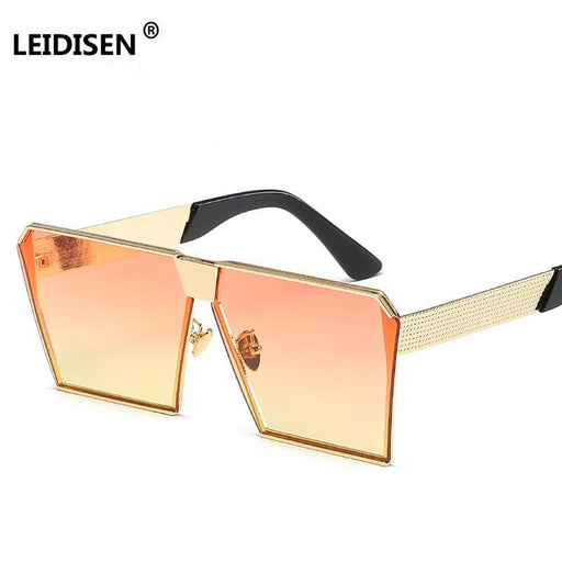 Leidisen Vintage Colored Gradient Sunglass Women Big Sqaure Gold Frame Sun Glasses For Women-Sunglasses-Zz Glasses Store-Gold w orange yellow-EpicWorldStore.com