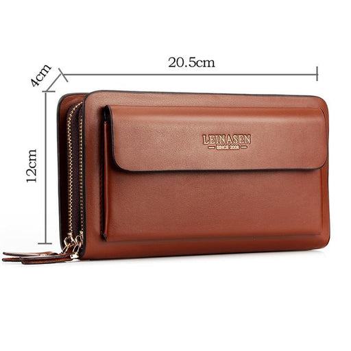 Leinasen Brand Men Wallets With Coin Pocket Zipper Double Zipper Male Wallet Long Large Men Purse-Shop3084036 Store-Black-EpicWorldStore.com