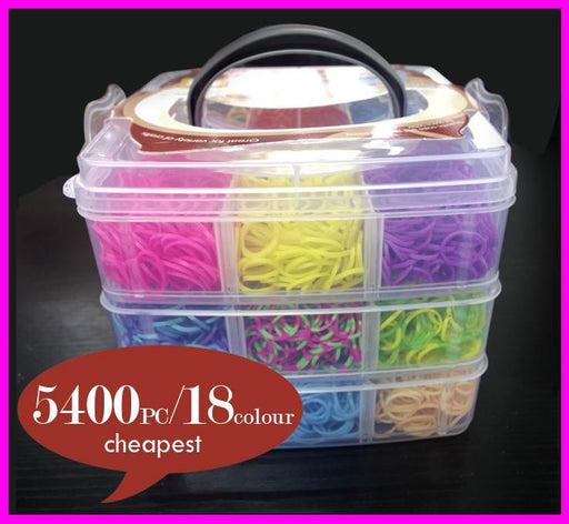 Let'S Make 5400Pcs High Quality Rubber Loom Band Kit Kids Diy Bracelet Silicone Bands 3 Layer Pvc-lets make-EpicWorldStore.com