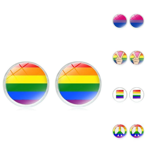 Lgbt Earring Bi Pride Stud Earring Jewelry Hypoallwergenic Ear Nail Gay Pride Glass Cabochon Earring-WEMARCHJULY Official Store-HS0017-EpicWorldStore.com