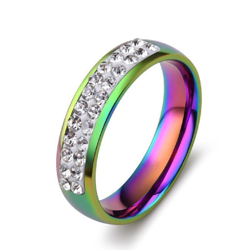 Lgbt Gay Pride Ring Stainless Steel Lesbian Jewelry Rainbow Shiny Rhinestones Glaring 5Mm Rings-Shop2140030 Store-5-EpicWorldStore.com