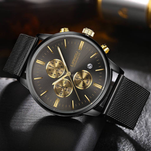 Liandu Mens Luxury Chronograph Luminous Black Quartz Watch Simulated Stainless Steel Mesh-Men's Watches-Bai Sen Store-Gold-EpicWorldStore.com
