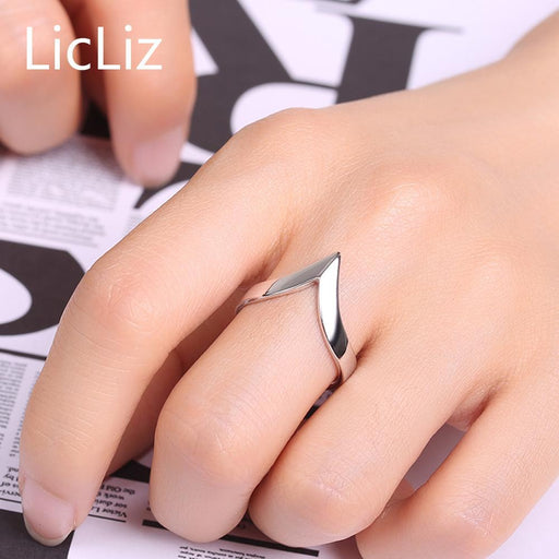 Licliz Genuine 925 Sterling Silver Adjustable Rings For Women Men Party V Ring Simple Geometric-Fine Jewelry-LicLiz Official Store-EpicWorldStore.com