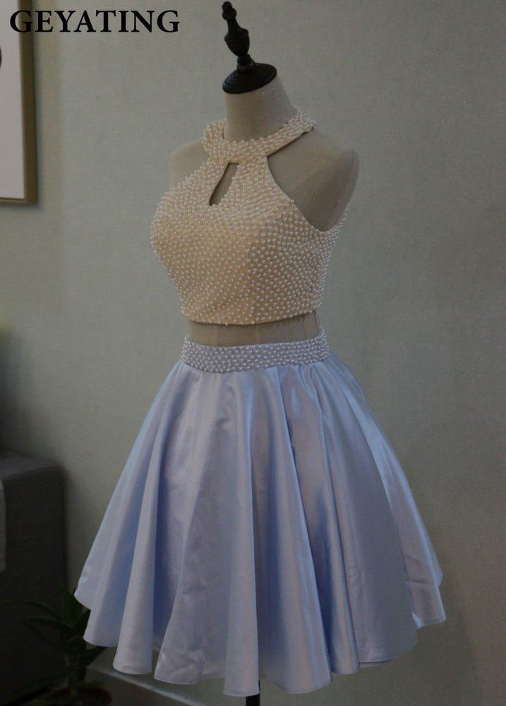 Light Blue Pearls 2 Two Pieces Homecoming Dress Mini Short 8Th Grade  Graduation Prom Dresses