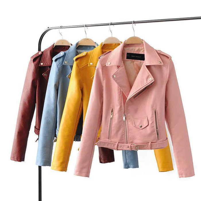 Lika S-Xl New Spring Bright Colors Good Quality Ladies Basic Street Women Short Pu-Jackets & Coats-ZHIYAN Store-Black-S-EpicWorldStore.com