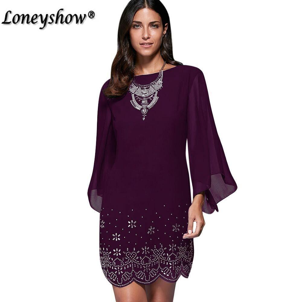 Loneyshow Summer Dress Plus Size Women Sequined Embroidery Party Dresses Large Size Work-Dresses-Loneyshow Official Store-Black-L-EpicWorldStore.com