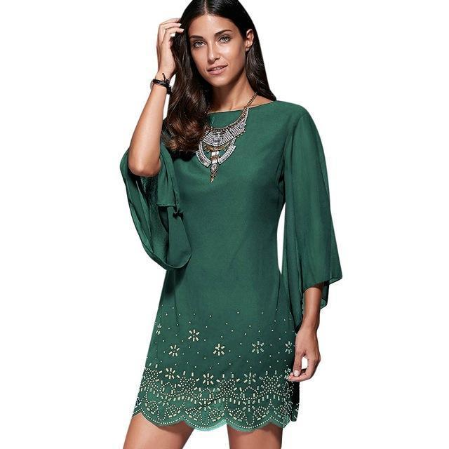 Loneyshow Summer Dress Plus Size Women Sequined Embroidery Party Dresses Large Size Work-Dresses-Loneyshow Official Store-Green-L-EpicWorldStore.com
