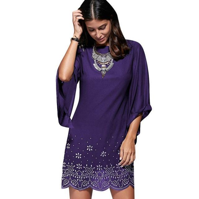 Loneyshow Summer Dress Plus Size Women Sequined Embroidery Party Dresses Large Size Work-Dresses-Loneyshow Official Store-Purple-L-EpicWorldStore.com