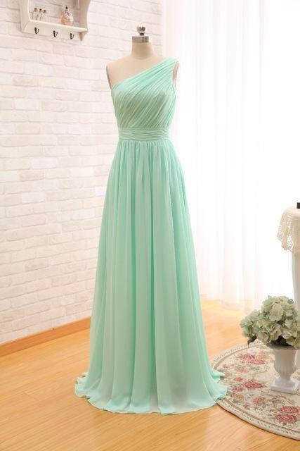 Long Cheap Mint Green Bridesmaid Dresses Under 50 Floor Length Chiffon A Line Vestido De