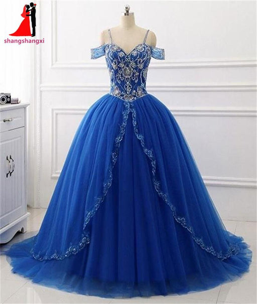 Long Quinceanera Prom Dresses Off Shoulder Beaded Dance Ball Gown ...