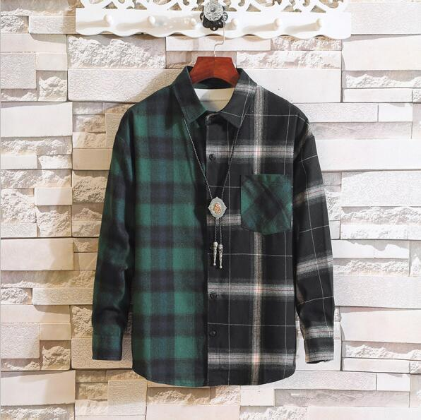 Long Sleeve Flannel Plaid Casual Men Shirt Button Upclothes-Home-RAZA Store-ASIAN SIZE C01-S FOR 155 CM 55KG-EpicWorldStore.com