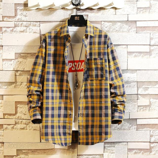 Long Sleeve Flannel Plaid Casual Men Shirt Button Upclothes-Home-RAZA Store-DS491 ASIAN SIZE L-S FOR 155 CM 55KG-EpicWorldStore.com