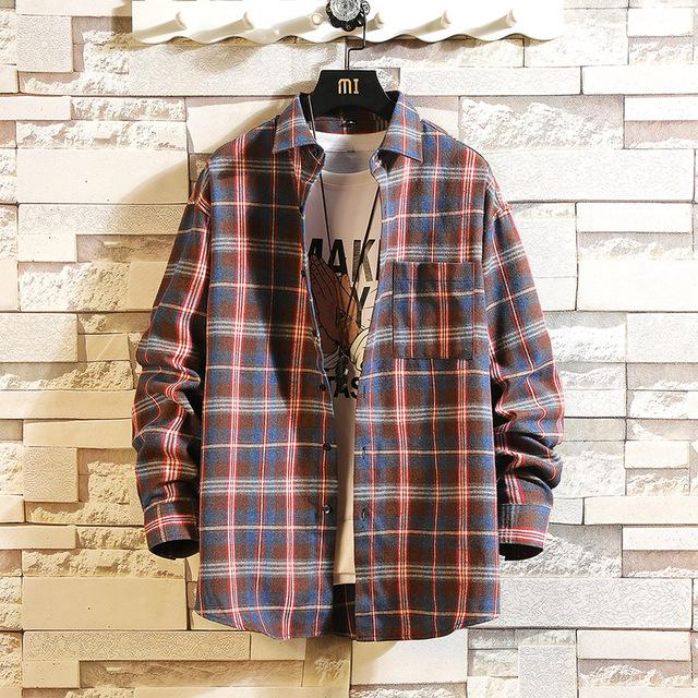 Long Sleeve Flannel Plaid Casual Men Shirt Button Upclothes-Home-RAZA Store-DS491 ASIAN SIZE M-S FOR 155 CM 55KG-EpicWorldStore.com