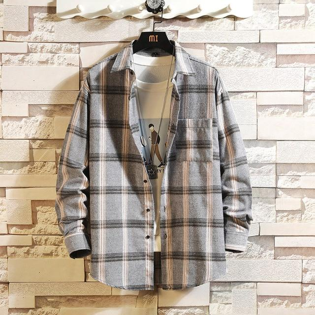 Long Sleeve Flannel Plaid Casual Men Shirt Button Upclothes-Home-RAZA Store-DS492 ASIAN SIZE J-S FOR 155 CM 55KG-EpicWorldStore.com