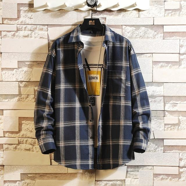 Long Sleeve Flannel Plaid Casual Men Shirt Button Upclothes-Home-RAZA Store-DS492 ASIAN SIZE K-S FOR 155 CM 55KG-EpicWorldStore.com