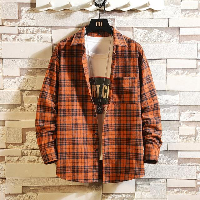 Long Sleeve Flannel Plaid Casual Men Shirt Button Upclothes-Home-RAZA Store-DS493 ASIAN SIZE B-S FOR 155 CM 55KG-EpicWorldStore.com