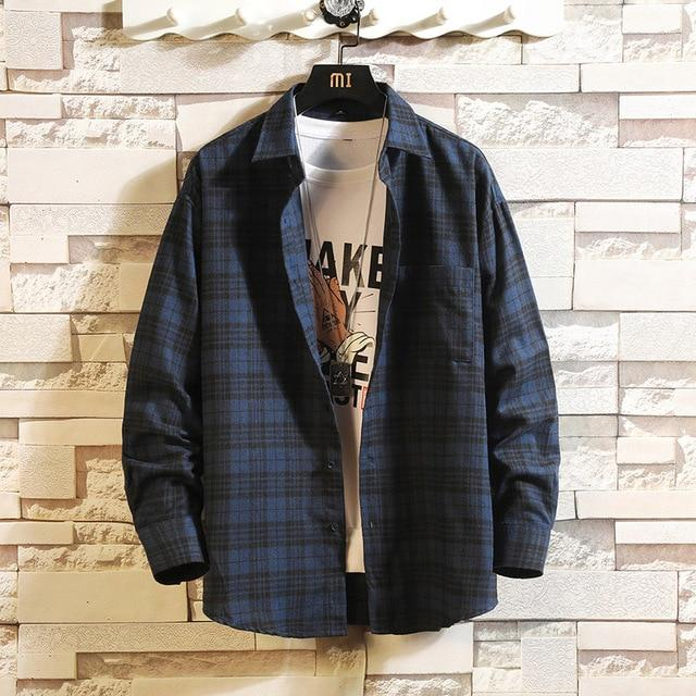Long Sleeve Flannel Plaid Casual Men Shirt Button Upclothes-Home-RAZA Store-DS493 ASIAN SIZE C-S FOR 155 CM 55KG-EpicWorldStore.com