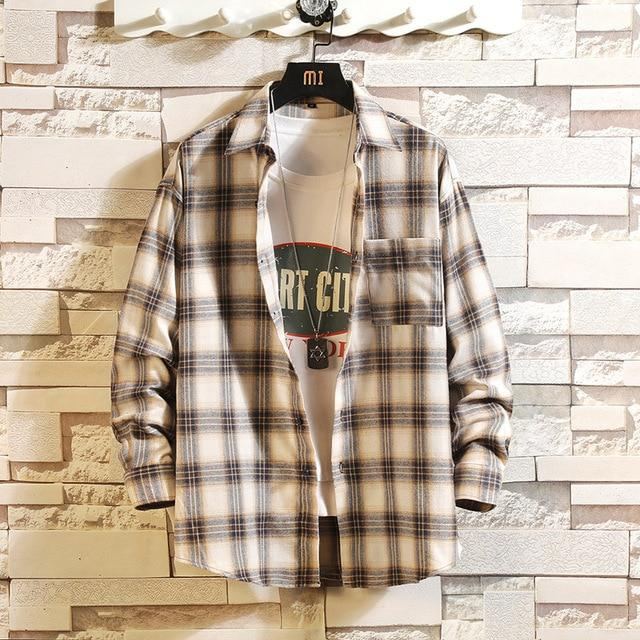 Long Sleeve Flannel Plaid Casual Men Shirt Button Upclothes-Home-RAZA Store-DS495 ASIAN SIZE N-S FOR 155 CM 55KG-EpicWorldStore.com