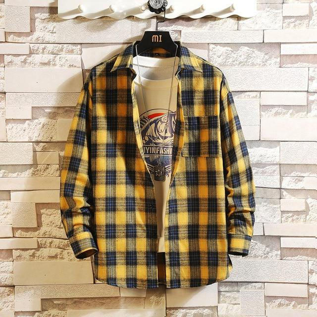 Long Sleeve Flannel Plaid Casual Men Shirt Button Upclothes-Home-RAZA Store-DS495 ASIAN SIZE O-S FOR 155 CM 55KG-EpicWorldStore.com