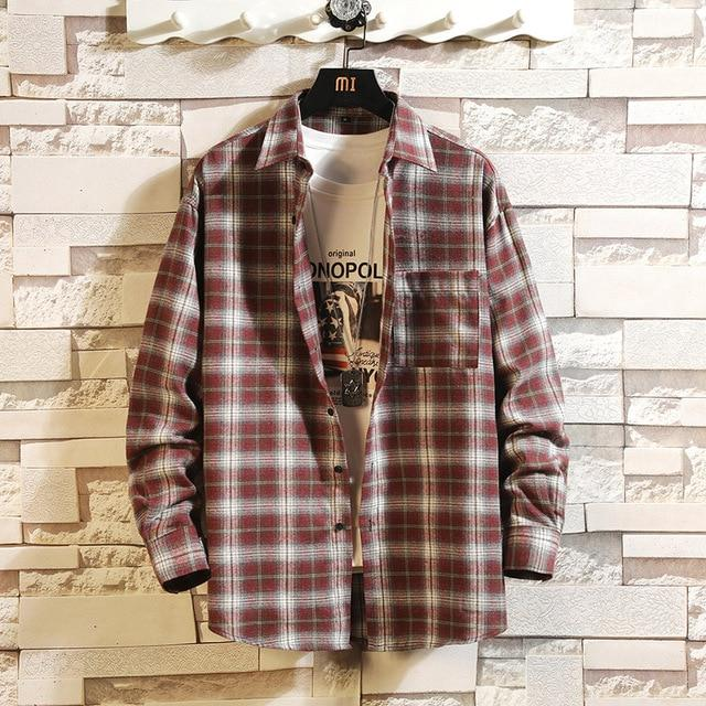 Long Sleeve Flannel Plaid Casual Men Shirt Button Upclothes-Home-RAZA Store-DS496 ASIAN SIZE G-S FOR 155 CM 55KG-EpicWorldStore.com