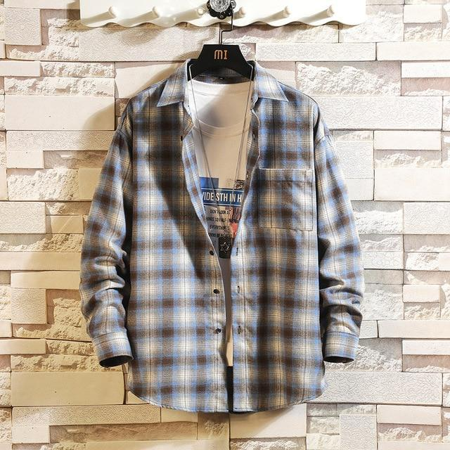 Long Sleeve Flannel Plaid Casual Men Shirt Button Upclothes-Home-RAZA Store-DS497 ASIAN SIZE F-S FOR 155 CM 55KG-EpicWorldStore.com