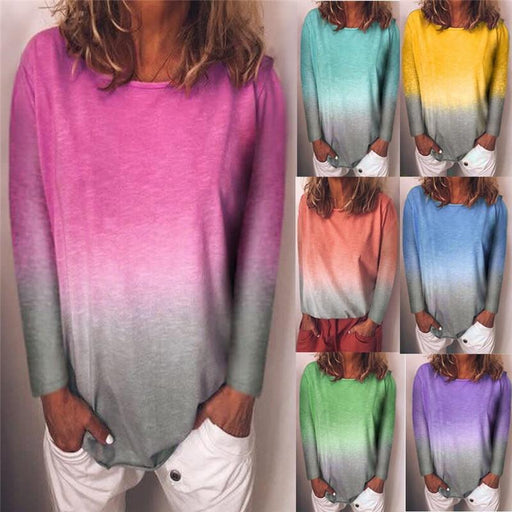 Long Sleeve T Shirt Women Casual Rainbow Tops Tee Woman Clothes-T-Shirts-Shop4398050 Store-A Lake green a-S-EpicWorldStore.com
